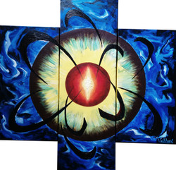 Divinity at centre (ART_3690_23659) - Handpainted Art Painting - 36in X 36in