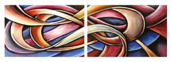 String Of Life - 48in x 16in (24in X 16in x 2pcs),ART_PIJN63_4816,Multipiece,Acrylic Colors,Artist Pallavi Jain,Museum Quality - 100% Handpainted,String,Truth of life,Life Beginings,,Buy Paintings Online in India