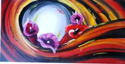 Floral Swirl - 40in X 20in,ART_PIJN67_4020,Acrylic Colors,Artist Pallavi Jain,Museum Quality - 100% Handpainted Flowers,Floral,Swirl of flowers,Buy Paintings Online in India