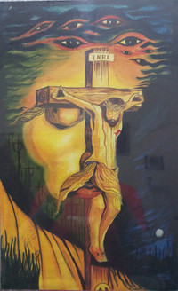 Jesus on Cross with Face (ART_3714_23783) - Handpainted Art Painting - 13in X 20in