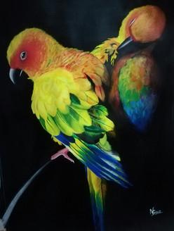 Beautiful parrot (ART_2819_23782) - Handpainted Art Painting - 20in X 28in