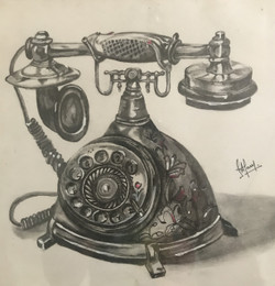 Old phone (ART_3617_23848) - Handpainted Art Painting - 9in X 9in