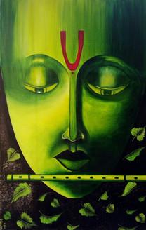 Lord Krishna (ART_1533_23912) - Handpainted Art Painting - 22in X 34in