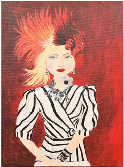 Beautiful lady (ART_3384_24060) - Handpainted Art Painting - 12in X 16in