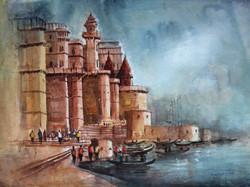 Banaras ghaat (ART_3755_24053) - Handpainted Art Painting - 28in X 22in
