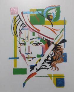 Modern Krishna (ART_2266_24073) - Handpainted Art Painting - 9in X 11in (Framed)