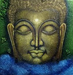 Buddha meditation float (ART_3768_24082) - Handpainted Art Painting - 24in X 24in (Framed)