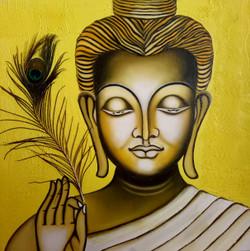 Buddha meditation healing soul (ART_3768_24028) - Handpainted Art Painting - 24in X 24in (Framed)