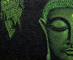 Green Buddha (ART_3768_24209) - Handpainted Art Painting - 12in X 10in (Framed)