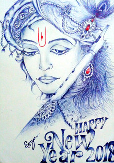 Lord krishna (ART_3389_24169) - Handpainted Art Painting - 12in X 16in