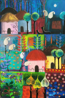 Farming the indian way-II (ART_1968_24249) - Handpainted Art Painting - 24in X 36in
