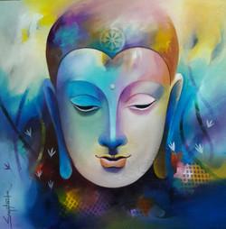 Buddha 2 (ART_3298_22073) - Handpainted Art Painting - 24in X 24in