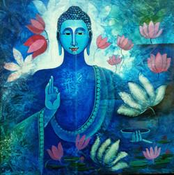 Buddha 1 (ART_3298_21960) - Handpainted Art Painting - 12in X 12in