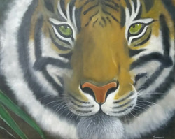 Hope for Tigers (ART_199_15892) - Handpainted Art Painting - 32in X 26in