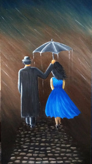 Romantic couples (ART_3012_24355) - Handpainted Art Painting - 12in X 24in