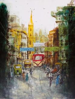 Morning Light - IX CITY-SCAPE OF HERITAGE KOLKATA  (ART_2874_24379) - Handpainted Art Painting - 24in X 18in