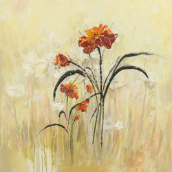 Village - 24in X 24in,28Flower137_2424,Yellow, Brown,60X60 Size,Flowers, Animals, Nature Art Canvas Painting