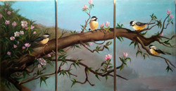 Chirping sparrows (ART_2562_24442) - Handpainted Art Painting - 47in X 24in