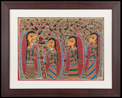 The Holy Tribe Painting (ART_3845_24438) - Handpainted Art Painting - 33in X 41in (Framed)
