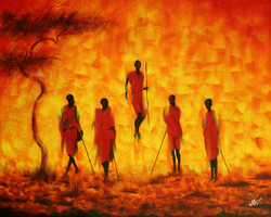 Adumu (The Jumping Dance of Maasai) (ART_3588_24225) - Handpainted Art Painting - 20in X 16in (Framed)
