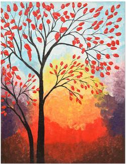 RED TREE (ART_3384_24569) - Handpainted Art Painting - 14in X 16in