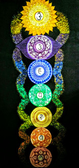 Seven Chakras (ART_3880_24577) - Handpainted Art Painting - 24in X 48in