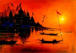 Varanasi Ghat-VIII (ART_3780_24556) - Handpainted Art Painting - 14in X 11in