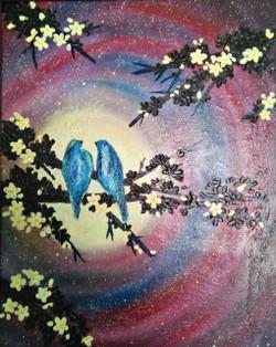Love Birds in Moonlight (ART_2450_24625) - Handpainted Art Painting - 23in X 17in