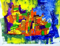 Landscape Art 08 - 11in X 07in,ART_KAPL32_1107,Mixed Media,Landscape,Buildings,Roads,Daily Life,Paper,Artist Kankana Pal - Buy Paintings Online in India.