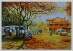 An evening in my home town Athani (ART_715_22787) - Handpainted Art Painting - 16in X 11in