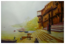 An evening in Varanasi (ART_715_22616) - Handpainted Art Painting - 20in X 14in