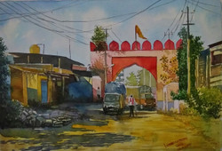 Bright and sunny and shadow of Athani gateway (ART_715_17238) - Handpainted Art Painting - 20in X 14in