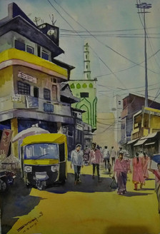 Athani bazar (ART_715_16892) - Handpainted Art Painting - 20in X 14in