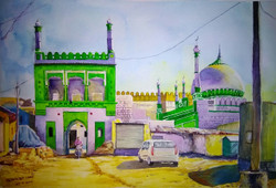 Athani pendhar galli Masjid (ART_715_16175) - Handpainted Art Painting - 20in X 14in