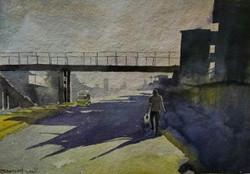 Shadow (ART_715_15731) - Handpainted Art Painting - 16in X 11in