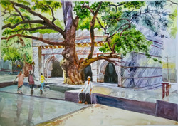 Athani Siddeshwar temple inside view (ART_715_15705) - Handpainted Art Painting - 16in X 11in