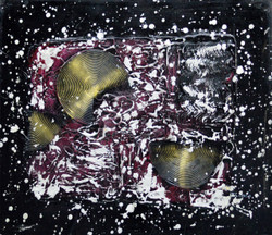 Dark Golden Circles (FR_1523_24170) - Handpainted Art Painting - 26in X 23in (Framed)