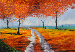 Orange Forest (FR_1523_24248) - Handpainted Art Painting - 60in X 42in