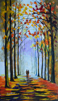 Autumn Fog (FR_1523_24247) - Handpainted Art Painting - 20in X 36in