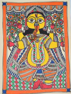Madhubani Painting - Jai Shri Ganesh (ART_2168_24712) - Handpainted Art Painting - 11in X 15in
