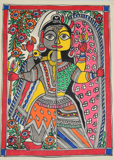 Madhubani Painting -Beautiful-Painting-of-Shivji-and-Parvatiji (ART_2168_24711) - Handpainted Art Painting - 11in X 15in