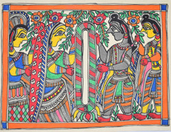 Madhubani Painting - Marriage-Ceremony-of-Shri-Ramji-and-Sitaji- (ART_2168_24710) - Handpainted Art Painting - 15in X 11in