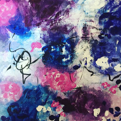 Abstract Flower Painting 2 (ART_1643_24720) - Handpainted Art Painting - 12in X 12in