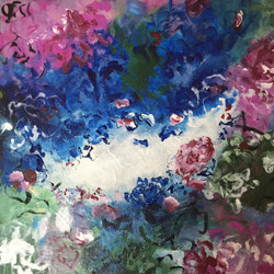 Abstract Flower Painting (ART_1643_24719) - Handpainted Art Painting - 12in X 12in
