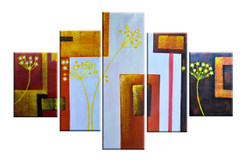 Golden Trees and squares (FR_1523_24109) - Handpainted Art Painting - 65in X 40in