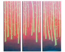 Red Goden Trees (FR_1523_24107) - Handpainted Art Painting - 36in X 36in