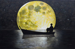 Boating in Night (FR_1523_24155) - Handpainted Art Painting - 36in X 24in