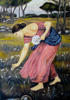 Lady Plucking Flowers (FR_1523_24150) - Handpainted Art Painting - 24in X 35in (Framed)