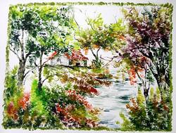 Scenery Art 05 - 13in X 11in,ART_KAPL37_1311,Mixed Media,Fingerprint work,Houses,Tents,Landscape,Nature,Tree,Waterfalls,Artist Kankana Pal - Buy Paintings Online in India.