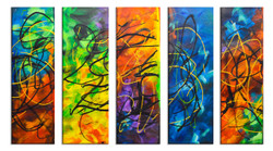 Abstract Lines (FR_1523_24115) - Handpainted Art Painting - 40in X 30in